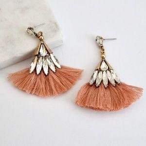 Glass Statement Tassel Earrings - Peach